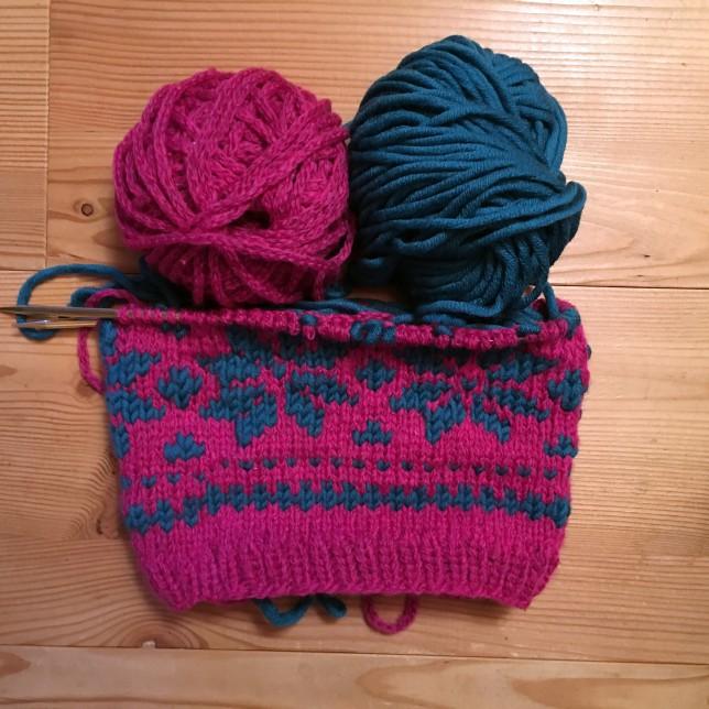 Mütze pink + petrol Glücksfrosch