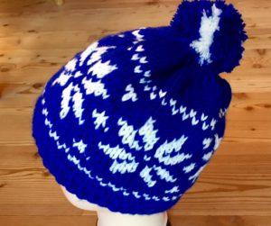 Norwegermütze königsblau und weiß